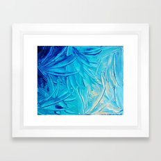 WATER FLOWERS - Beautiful Water Ocean Theme Shades Blue Floral Modern Design Abstract Painting Framed Art Print