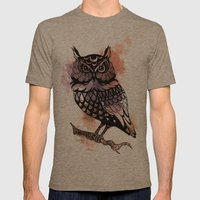 Owl Splash Mens Fitted Tee Tri-Coffee SMALL