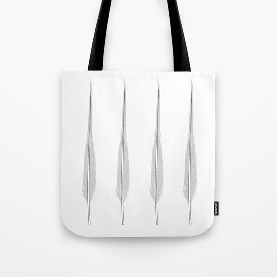 Grey Little Feather Tote Bag