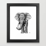 Framed Art Print featuring Ornate Elephant by BIOWORKZ