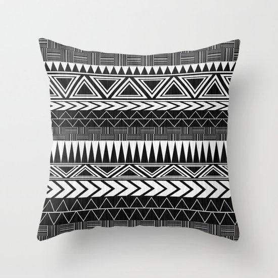 Tribal Monochrome. Throw Pillow