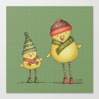 Two Chicks - Green Canvas Print