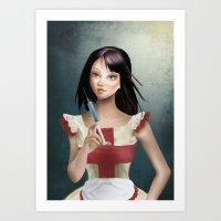 Evelyn - Cameo Portrait Art Print