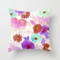Oriental Blossom Throw Pillow