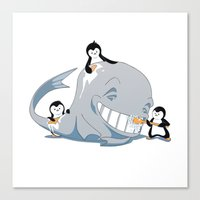Penguins And A Whale Canvas Print