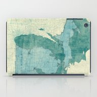 Michigan Map Blue Vintag… iPad Case