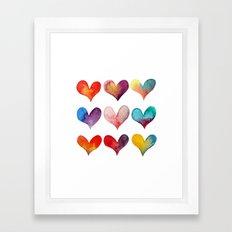 color of hearts Framed Art Print