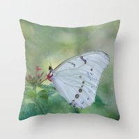 White Morpho Butterfly Throw Pillow