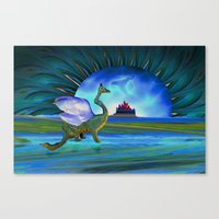 Winged Beast And Floatin… Canvas Print