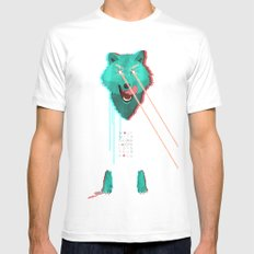Wolf With F**king lasers White SMALL Mens Fitted Tee