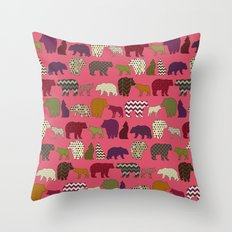 bear wolf geo party pink Throw Pillow