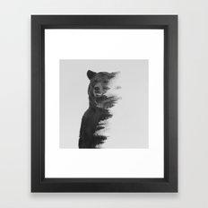 Observing Bear (black & … Framed Art Print