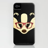 iPhone 4s & iPhone 4 Cases featuring Hipster Badger by Compassion Collective