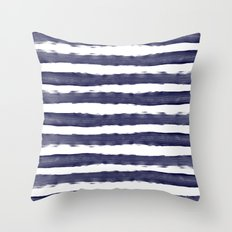Maritime pattern- darkblue handpainted stripes on clear white Throw Pillow