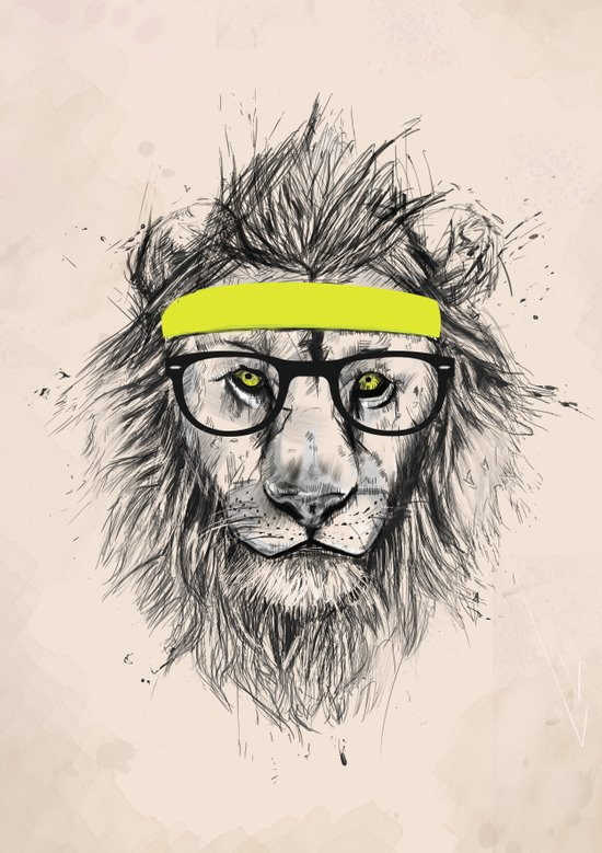 Hipster lion (light version) Art Print
