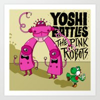 Yoshi Battles The Pink R… Art Print