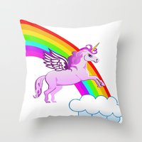 Jumping Over The Rainbow Throw Pillow