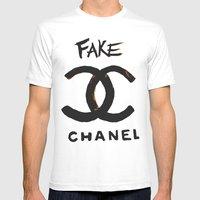 ''FAKE'' Mens Fitted Tee White SMALL