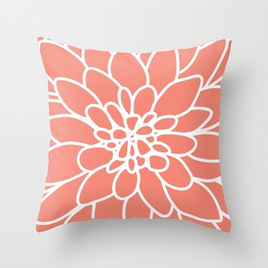 Throw Pillow Covers Society6 : Coral Modern Dahlia Flower Throw Pillow by AleDan Society6