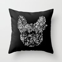 Botanical Frenchie Throw Pillow