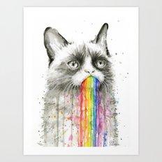 Grumpy Rainbow Cat Watercolor Art Print