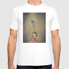 Man with Flower SMALL White Mens Fitted Tee