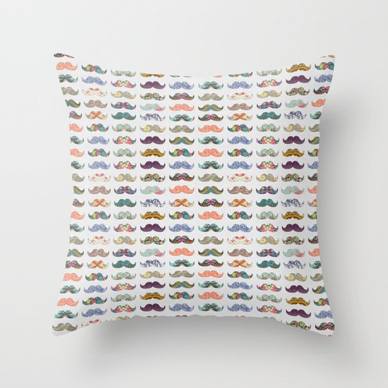 Mustache Mania Throw Pillow