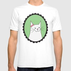 White Kitty Mens Fitted Tee White SMALL