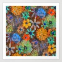 Rokin the Summer Garden in Orange Aqua   Art Print
