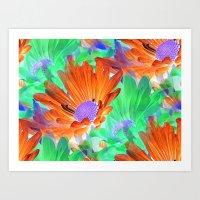 Mystical Flowers in Orange Art Print