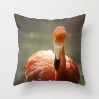 Flamingo Glow Throw Pillow