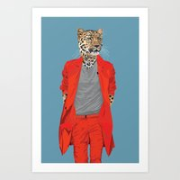 Leopard wearing Costume National Art Print