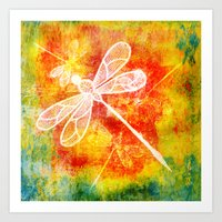 Dragonfly In Embroidered… Art Print