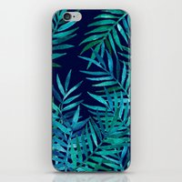 Watercolor Palm Leaves on Navy iPhone & iPod Skin