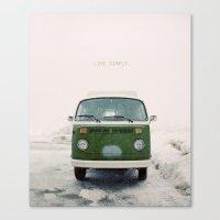 LIVE SIMPLY. Vintage Volkswagen Van.  Canvas Print