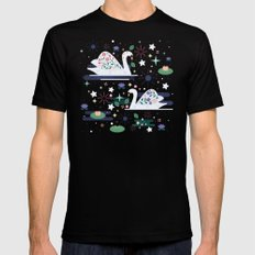 Swans On Stars  Mens Fitted Tee Black SMALL