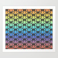 Butterfly pattern in color Art Print