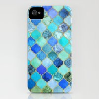 iPhone 4s & iPhone 4 Cases featuring Cobalt Blue, Aqua & Gold Decorative Moroccan Tile Pattern by micklyn