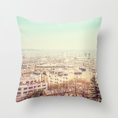 Paris' Skyline from Montmartre Throw Pillow