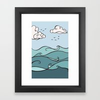 Clouds and Waves Framed Art Print