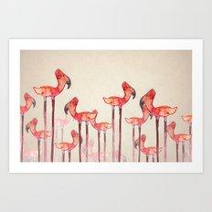 transmogrified flamingo colony Art Print