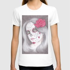 Dia De Los Muertos - Ros… Womens Fitted Tee White SMALL