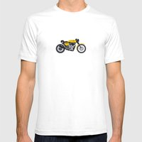 Cafe Bike Mens Fitted Tee White SMALL