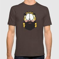 Garfield Cat Beard Mens Fitted Tee Brown SMALL