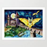 Halloween Landscape with Bats and Transylvanian Castle Art Print