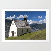 Mountain Chapel - Tirol Art Print