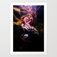 Keeping the octopus occupied Art Print