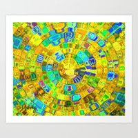 Mosaic Gems  Gold Art Print