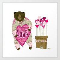 Bear with loveheart Art Print