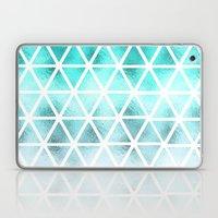 Teal blue ombre geometric triangles pattern  Laptop & iPad Skin